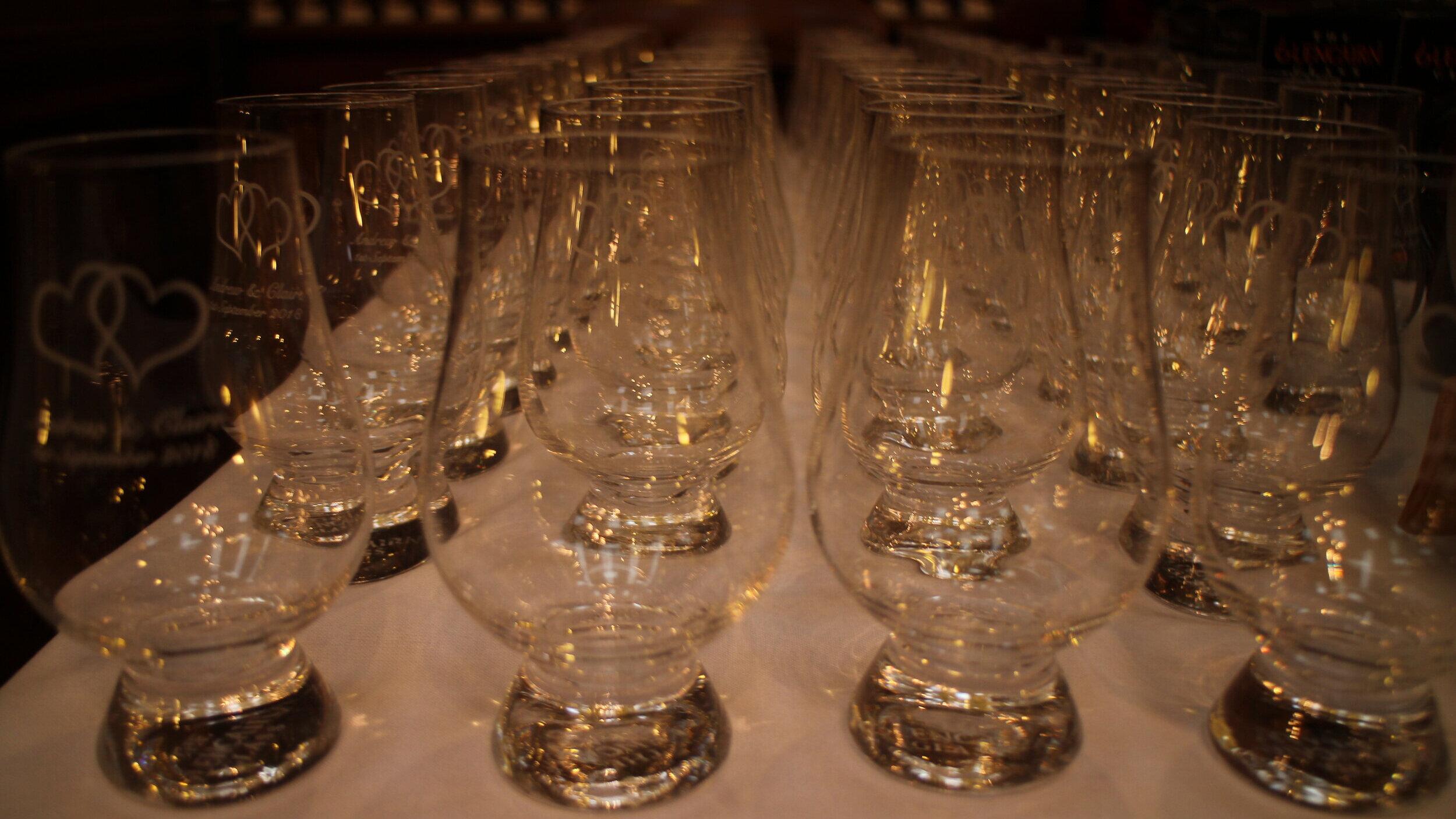 Engraved whisky glasses for weddings.