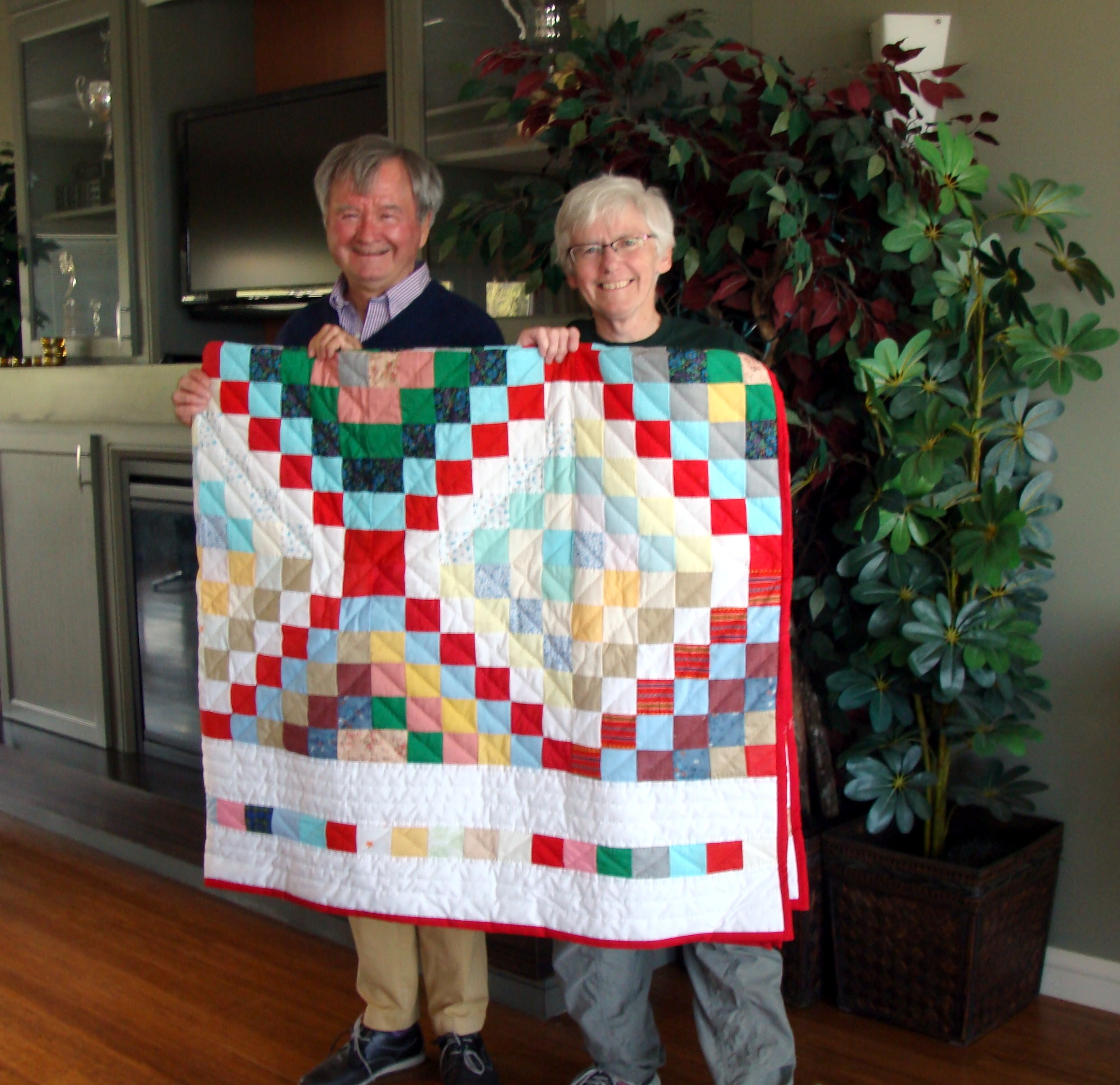 Our own Stephen Leahey was the winner of this year's beautiful quilt done by Miriam Thompson. This (and to a much smaller extent the hot dog sale) was the key to this year's April fundraising  BIG THANKS TO SCOTIABANK FOR MATCHING IT.