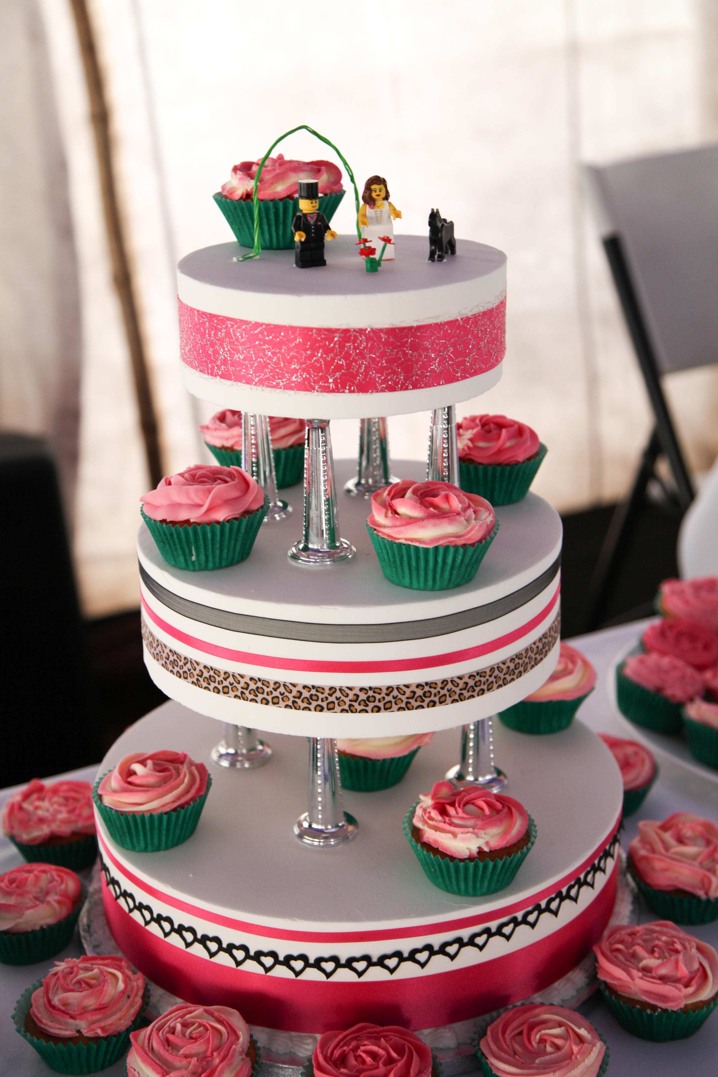 Homemade wedding cake - yes, they are Lego cake toppers...
