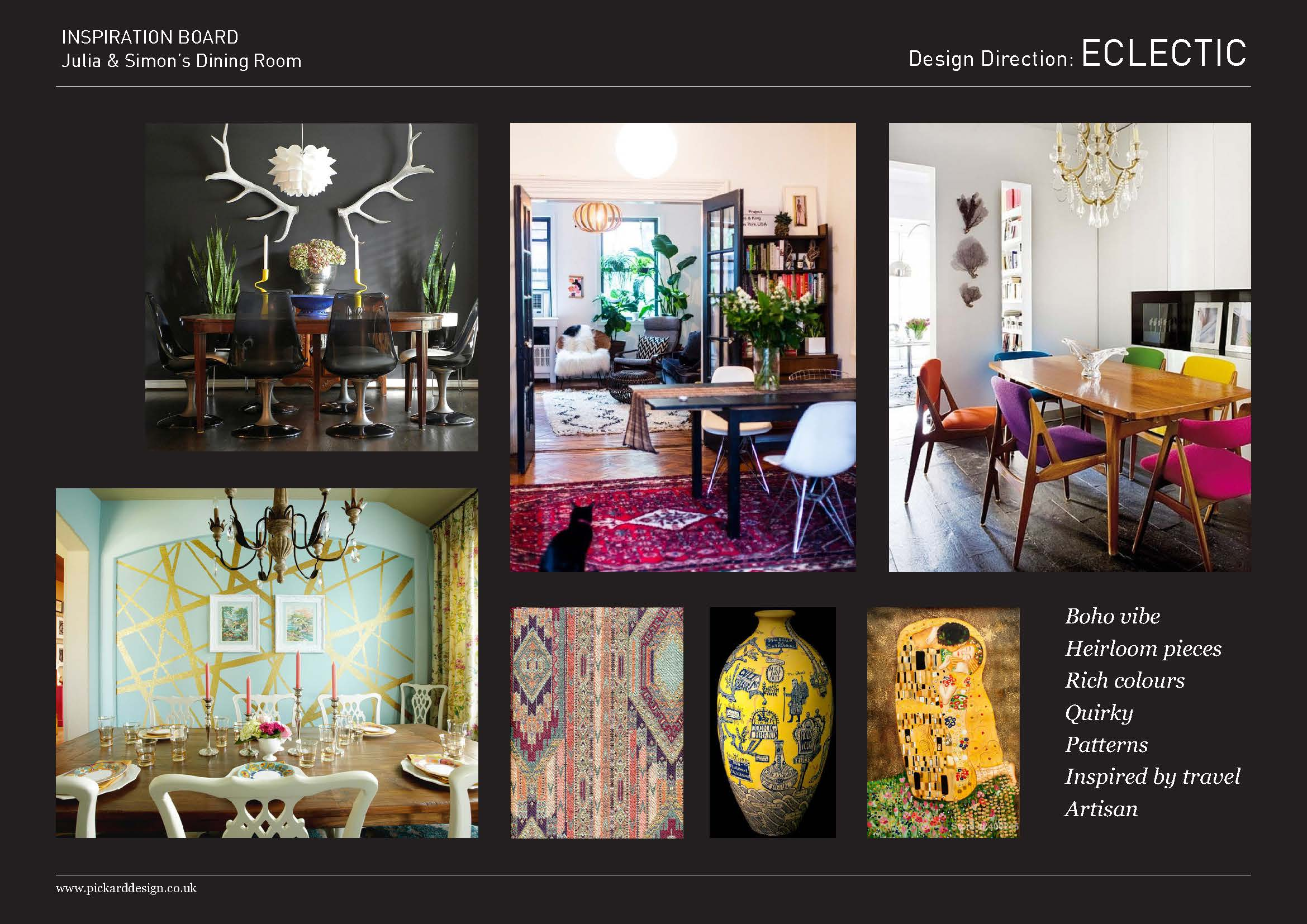 Mood board for customers who had an eclectic and unique style