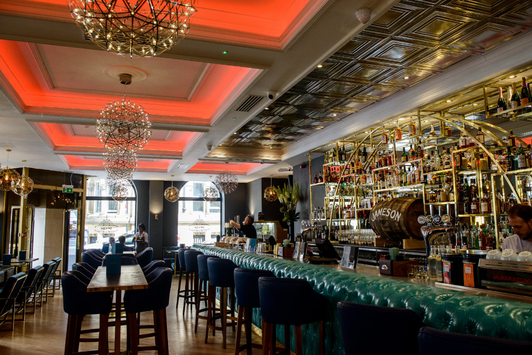 Roc and Rye bar - bespoke ceiling coffers