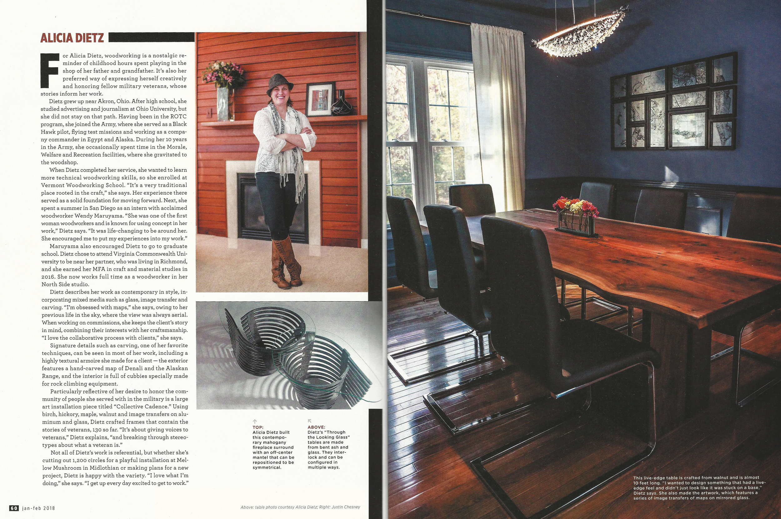 Richmond magazine's Rhome january/february 2018 issue features three local furniture makers