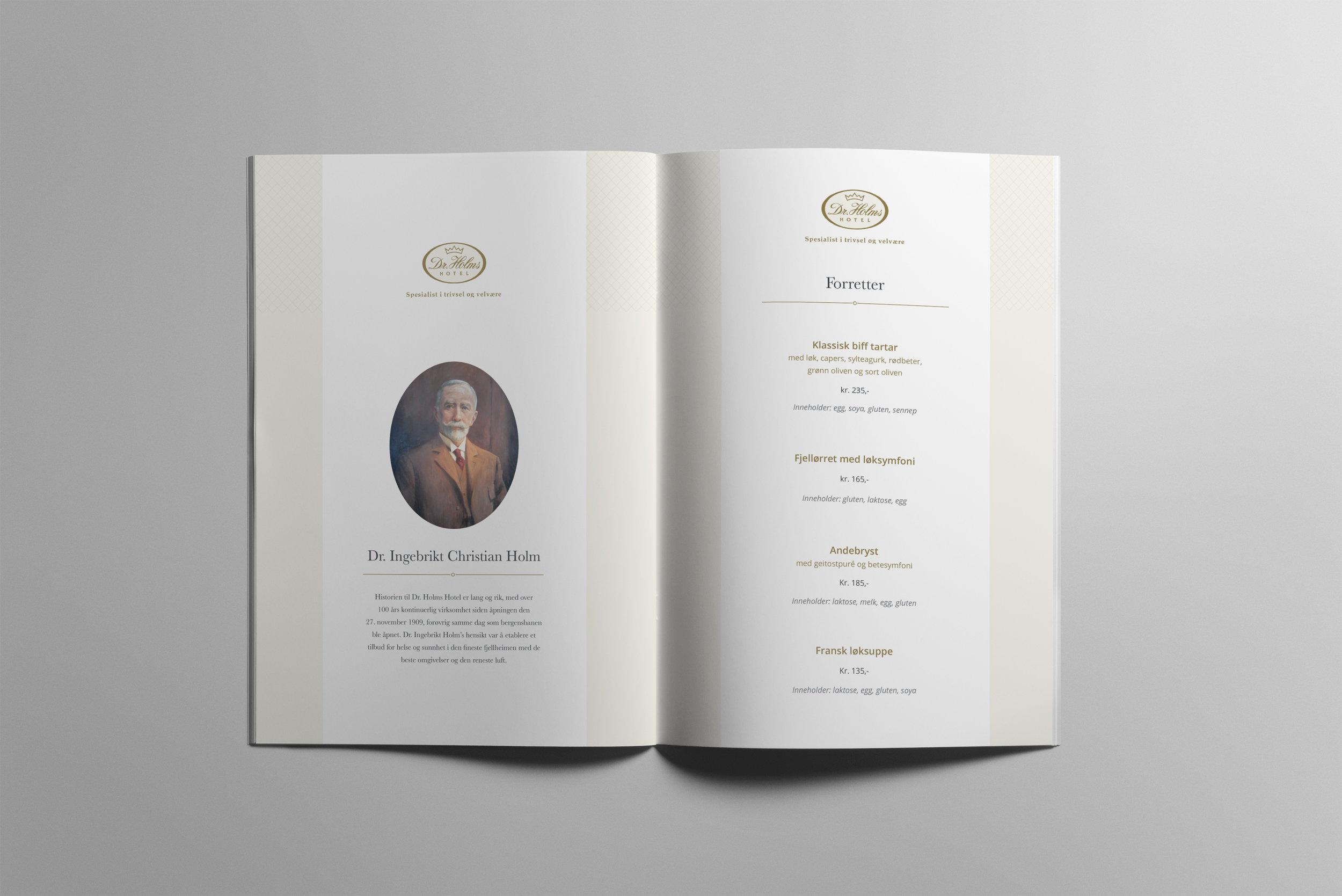 Dr.Holms hotell - Design for Meny og Vinkart for Restaurant Christian