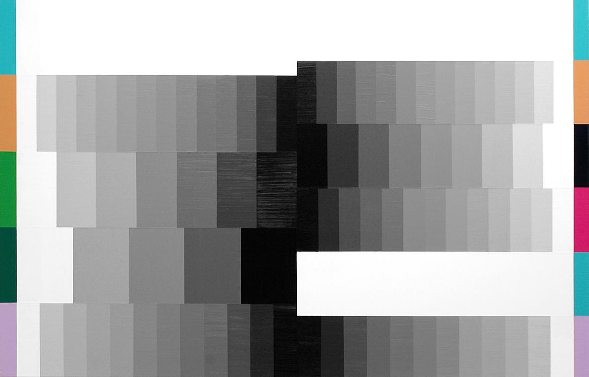 """Angel to Animal (White Rules);Acrylic on Aluminum Panel; 44"""" x 28""""; 2007"""