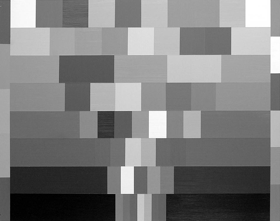 "Querelle Hierarchy – Descending: According to Theft/Larcin;  Acrylic on Aluminum Panel; 32"" x 24"";2007"