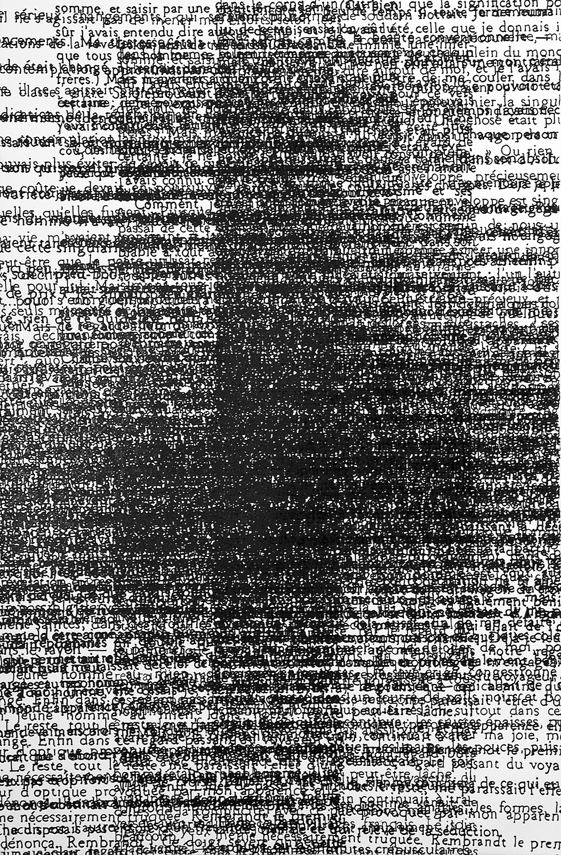 "JG on Rembrandt #1; Paint Marker on Paper; ""H x 26""; 2000"