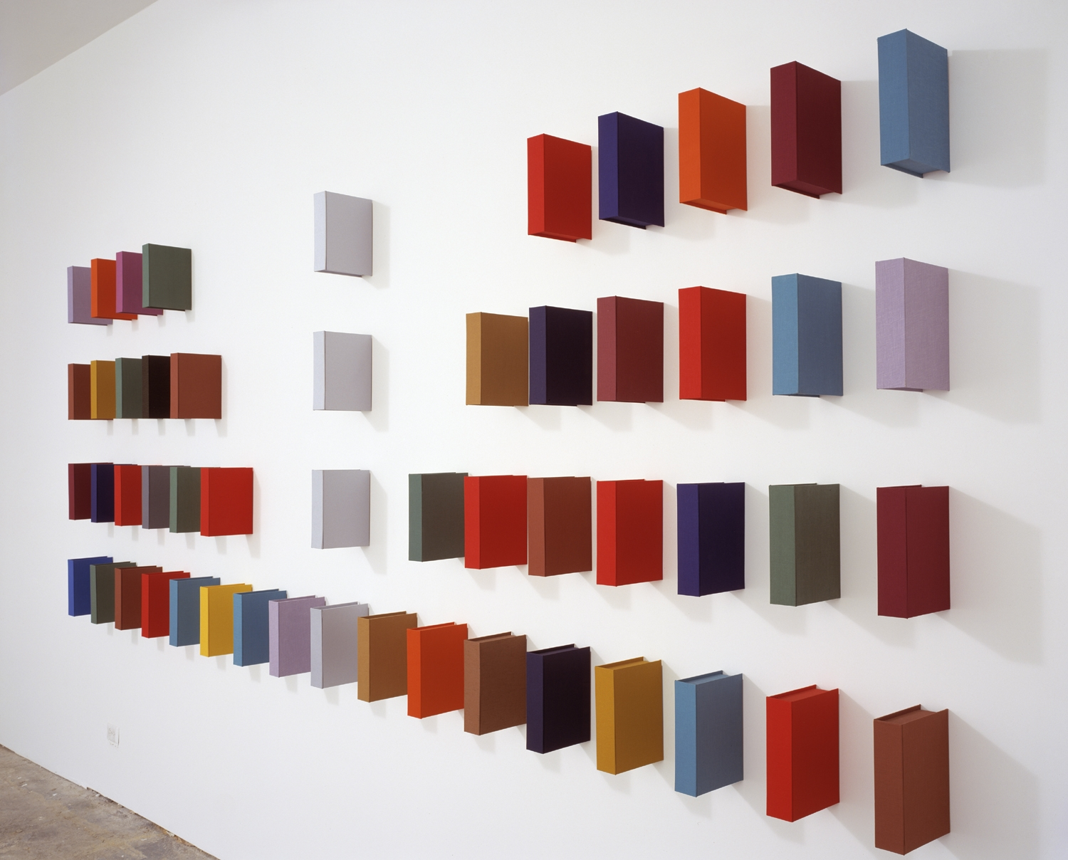Love Theft Murder Betrayal (Mirrored); Bookbinding Board, Fabric and Wood; Dimensions Variable; 2003
