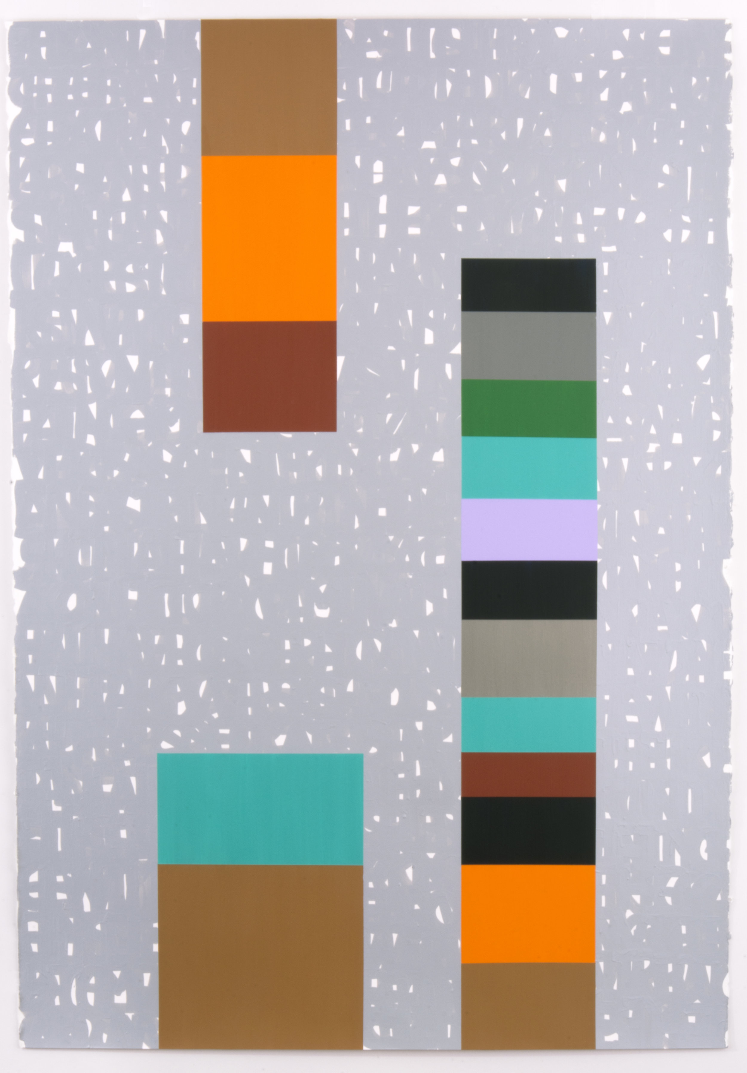 """Not an Idealization, 42"""" x 60"""", acrylic and enamel on paper, 2016."""