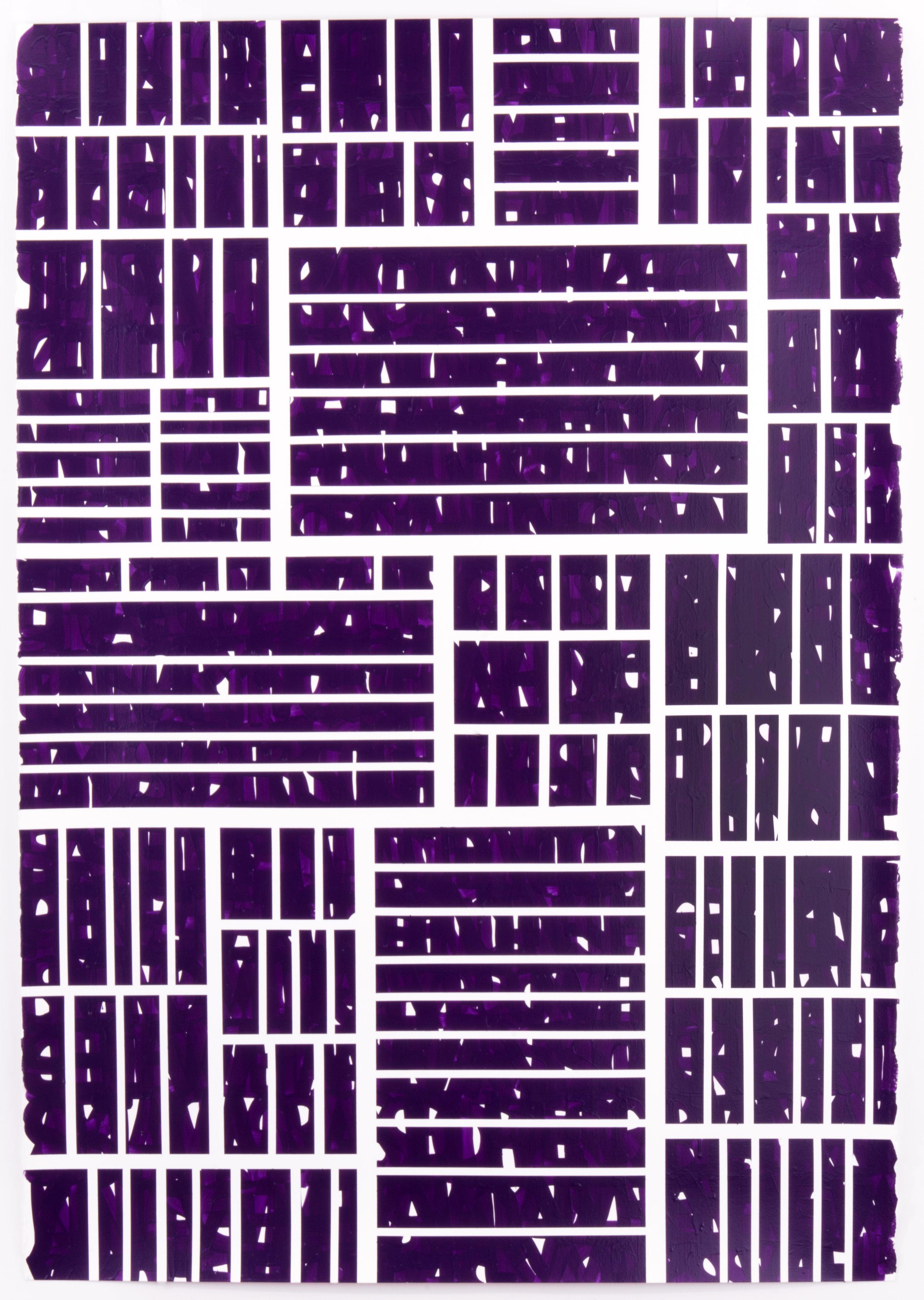 "Strange Hell of Beauty - Purple, 42"" x 60"", acrylic and enamel on paper, 2016."