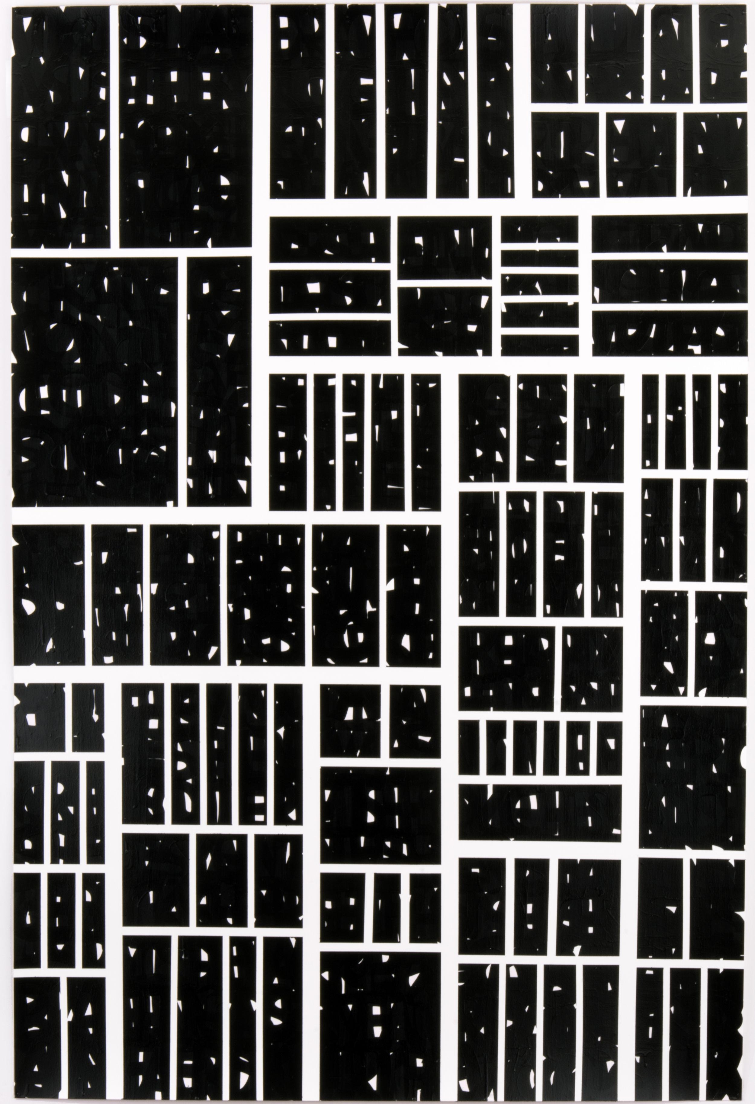 "Strange Hell of Beauty - Black, 42"" x 60"", acrylic and enamel on paper, 2016."