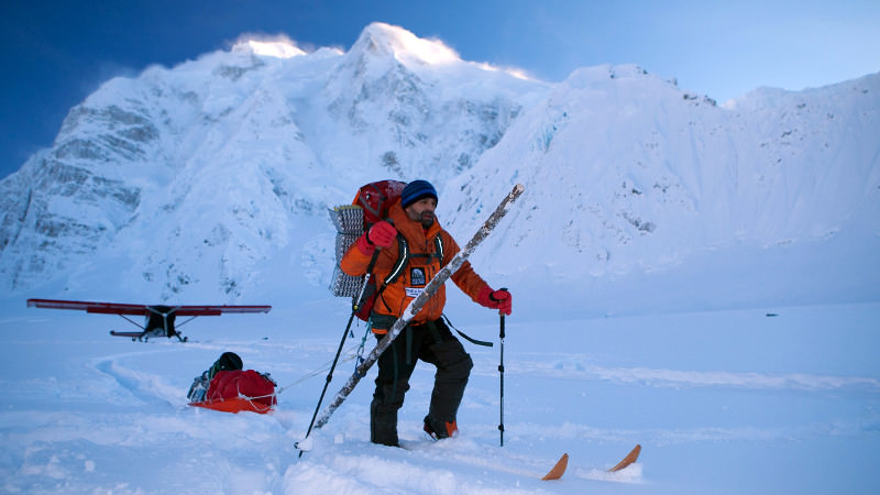 here is lonnie carrying a spruce pole to stop himself falling into crevasses, i love this picture!!!