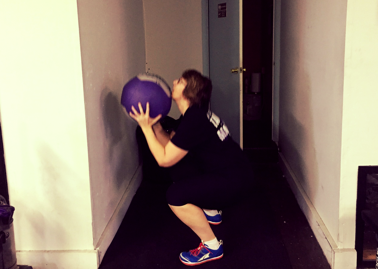 When the gym gets crowded, don't be afraid of the bathroom wall ball station:)