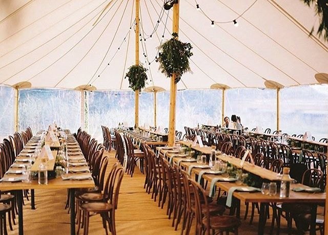 Fabulous set up by @willandjac for the wedding of Jacqui + Bill with dream team furniture by @peppersprouthire + sperry tent by @undersky_aus - 📷 by @allsorts_pictures