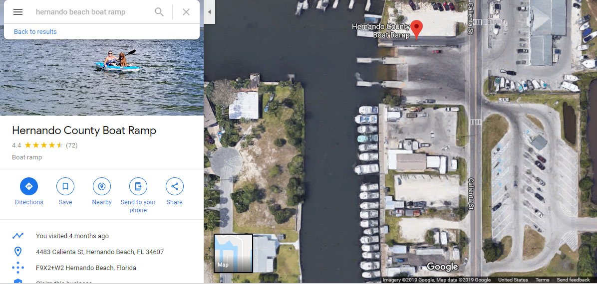 Map of Boat Launch and Parking Lot 4483 Calienta Street Hernando Beach, FL