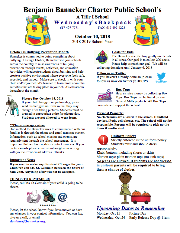 Download Link for the October 10th Backpack    Download the Updated Parent Handbook here