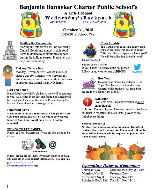 Download link for the October 31st Backpack    November Lunch Calendar