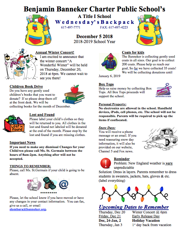 Download Link for the December 5th Backpack    December Lunch Calendar