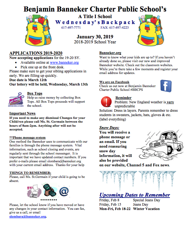 Download Link for the January 30th Backpack    February Lunch Menu
