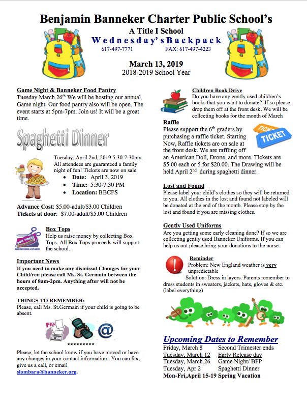 For more information Click on the links below   March Lunch Menu    Family Game Night    Pizza Form    Spaghetti Dinner