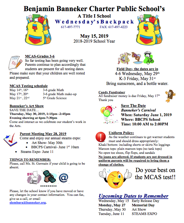 Download the link for the May 15th Backpack    Banneker Art Show