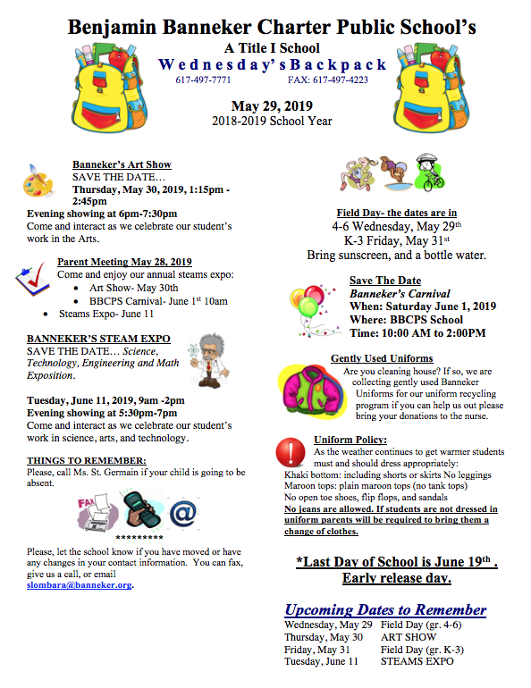 Download Link for May 29th Backpack    ArtShow    Banneker Week    Banneker Carnival