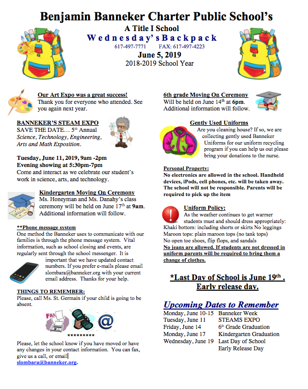 Download Link for June 5th Backpack    STEAMS Expo    Banneker Week