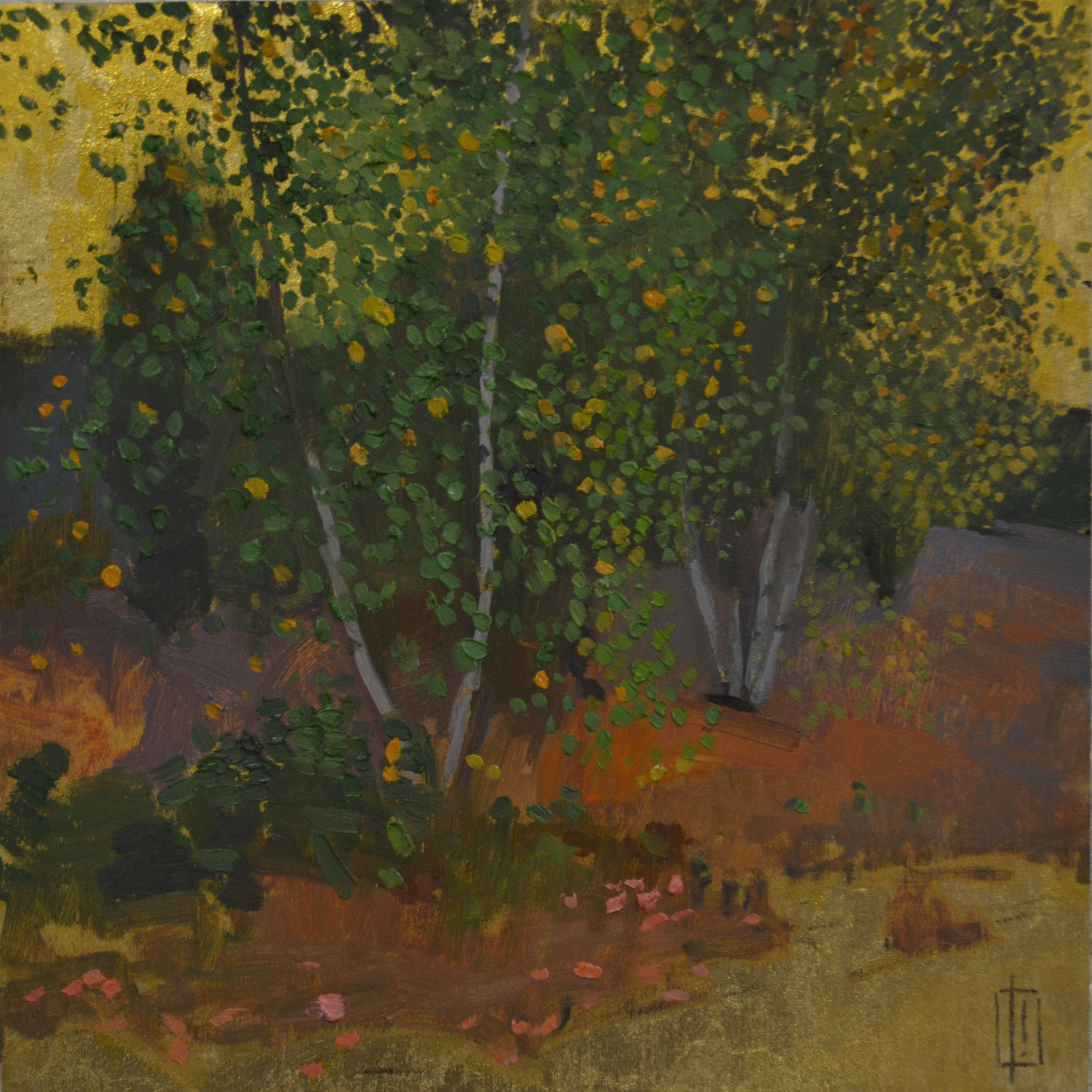 Birches  12 x 12 oil on 23k gilded panel  sold