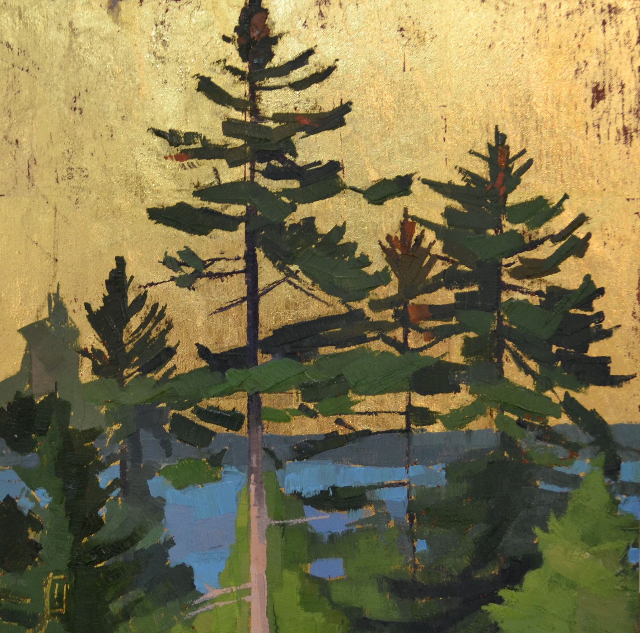 Blooming Pines  12 x 12 oil and gold on wood  sold