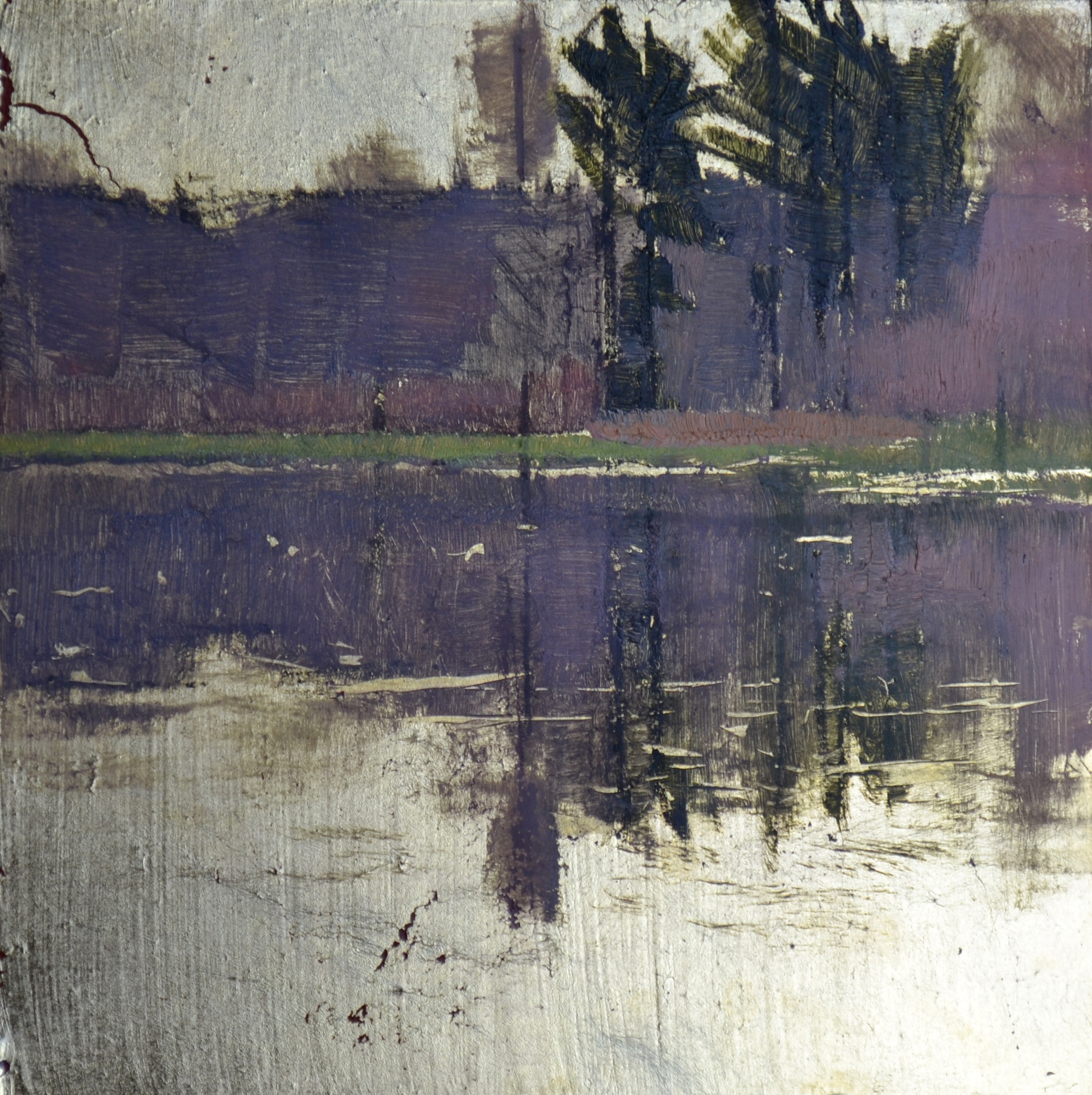 Little Grove  6 x 6 oil on gold leaf panel  sold