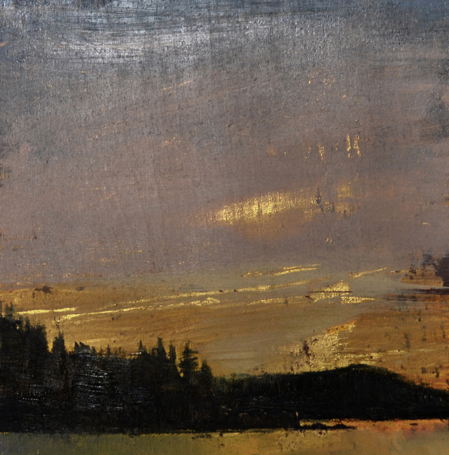 One Night  6 x 6 oil on gold leaf panel sold