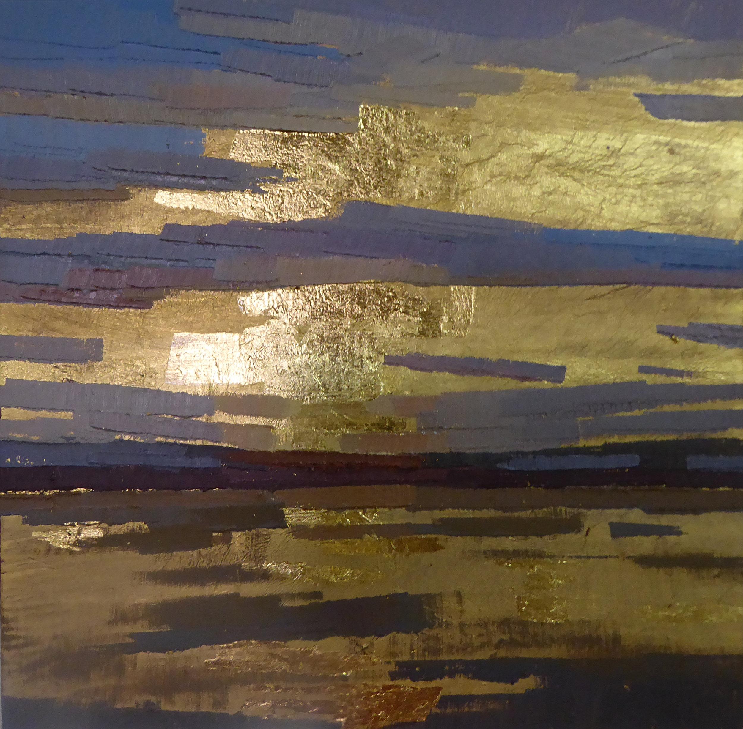 Column of Light I  oil on 23K gilded wood panel 6 x 6  sold