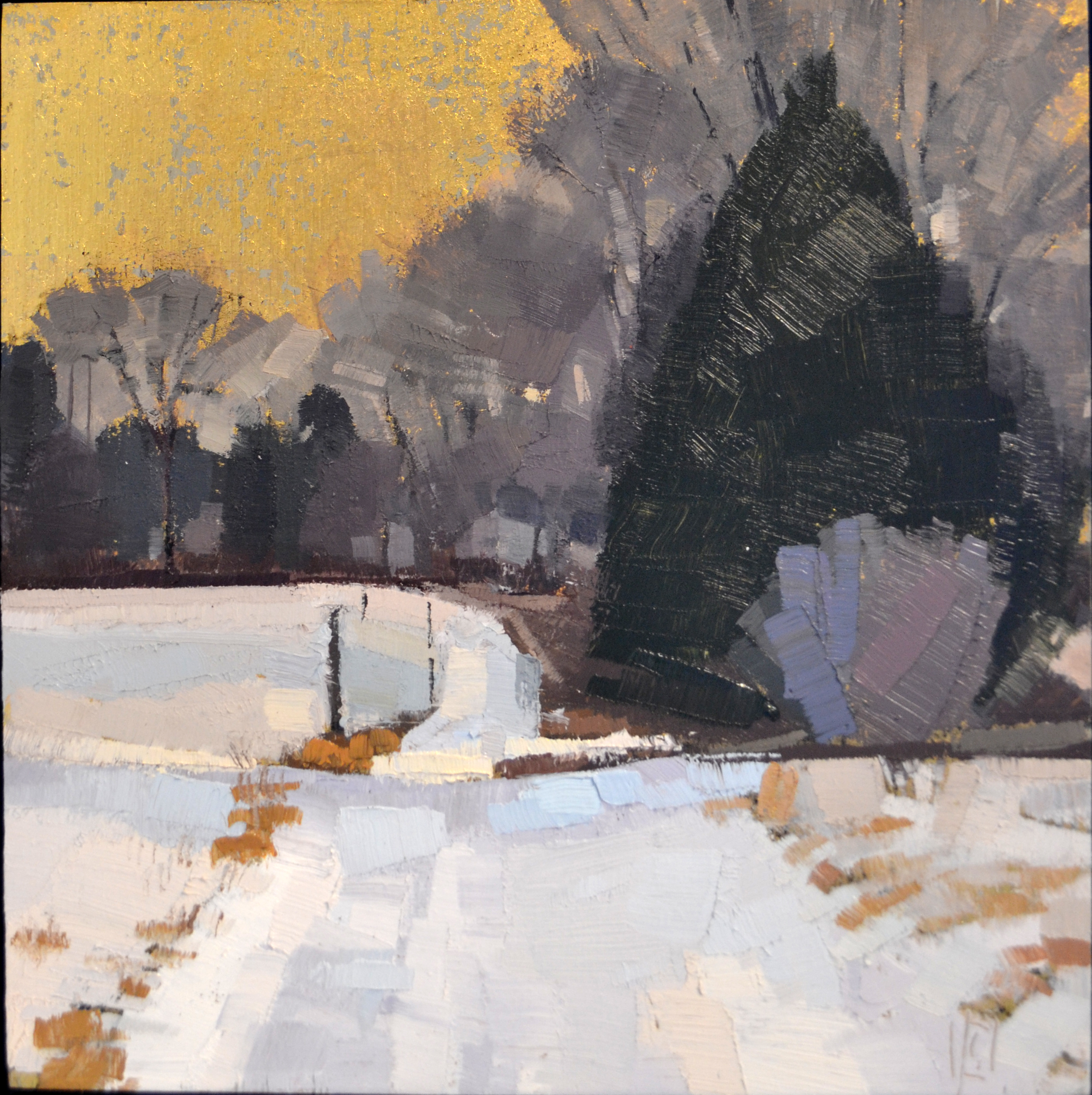 Winterfield  8 x 8 oil and 23K gold on aluminum  sold