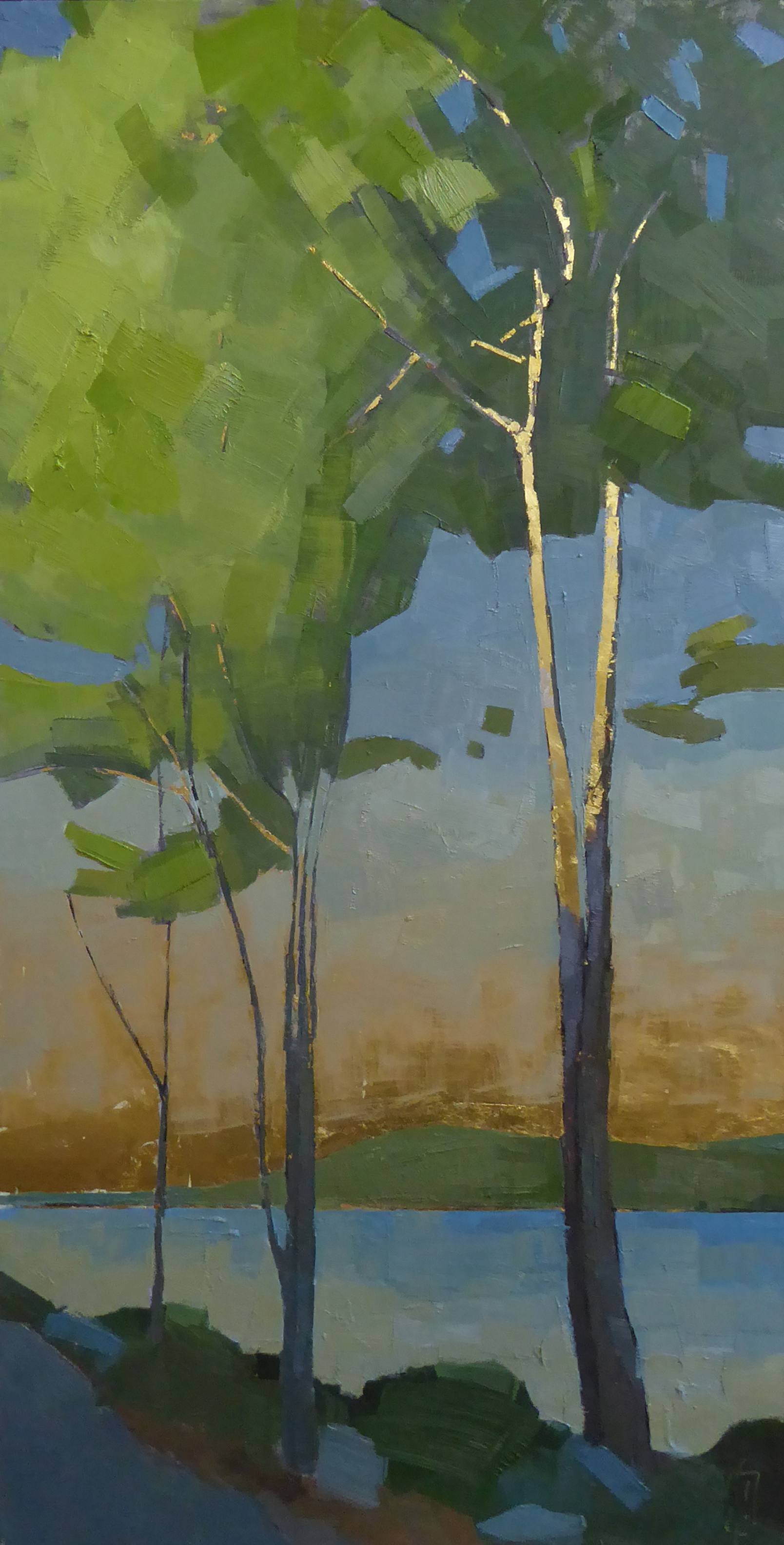 In the Morning  18 x 36 oil and 23K gold on cradled panel  Islesford Artists Gallery  sold