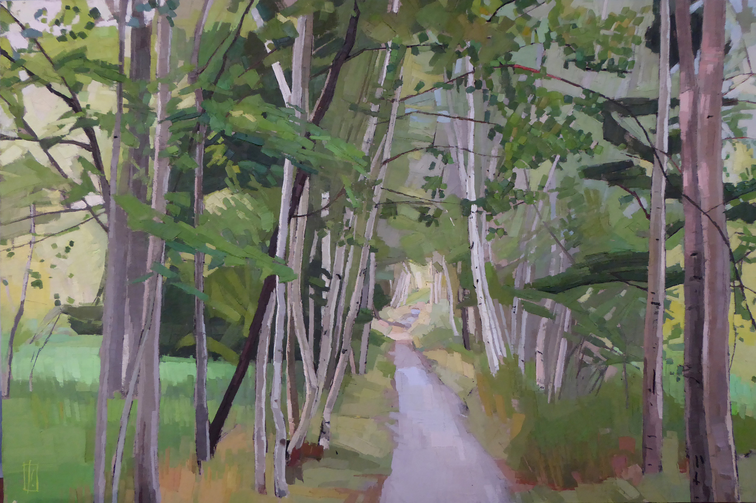 Birch Tunnel  24 x 36 oil on linen mounted on cradled panel   Powers Gallery