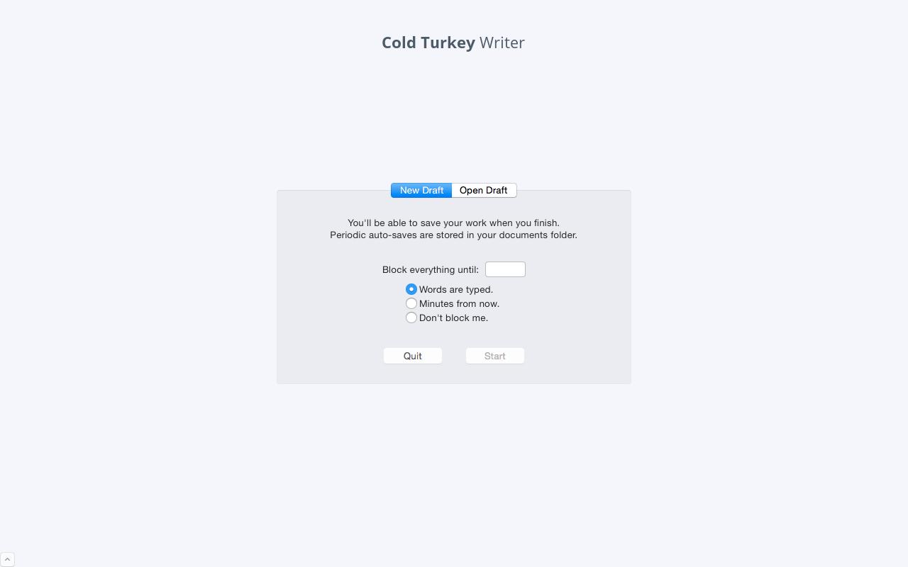 Cold Turkey Writer's start up screen.