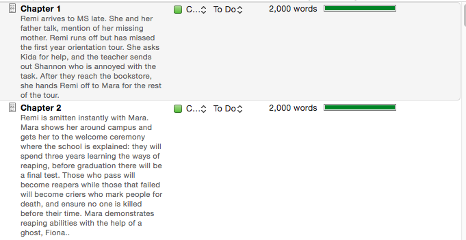 One of the many view options on Scrivener.