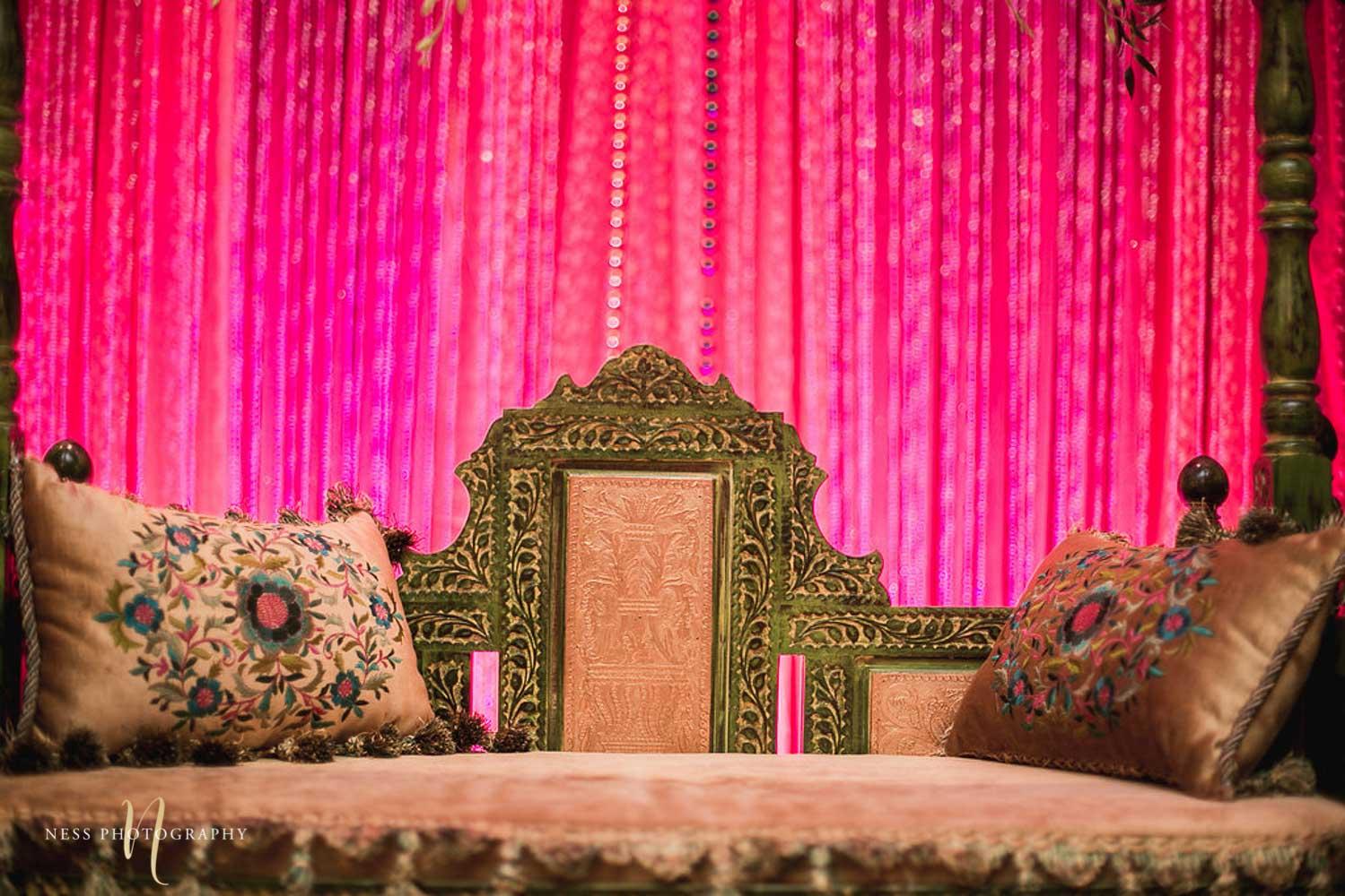 closeup of stage decor at pakistani mehendi in ottawa