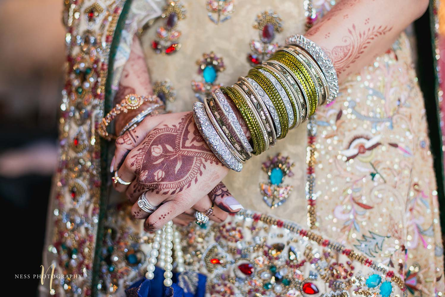 closeup of pakistani bride bangles and mehendi at Shirley Wu in toronto