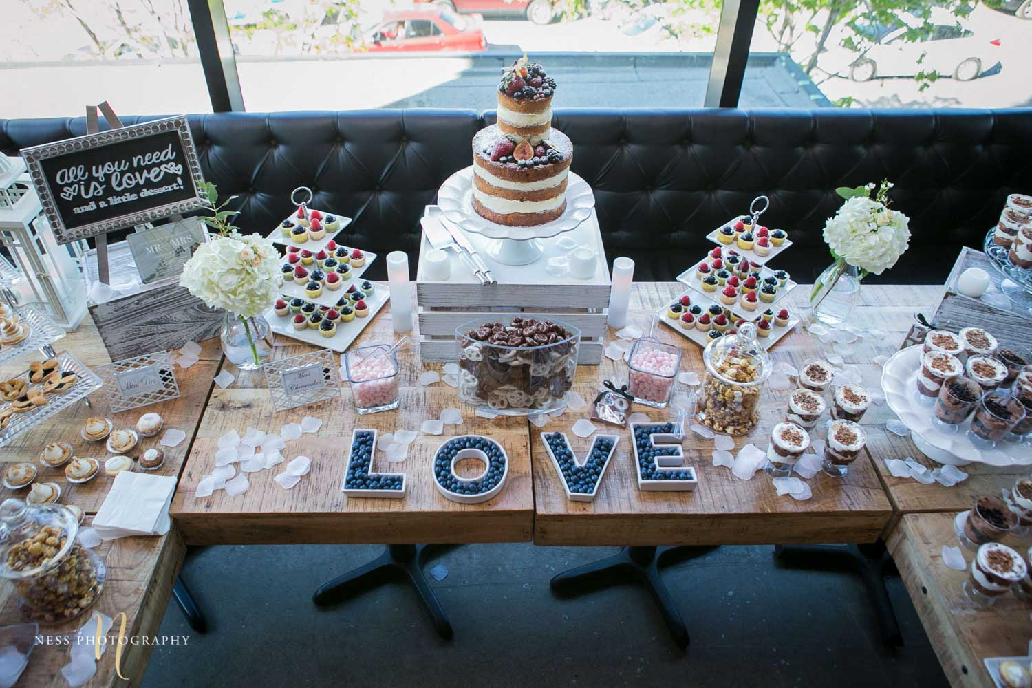 full view of the dessert table at engagement Party in Montreal