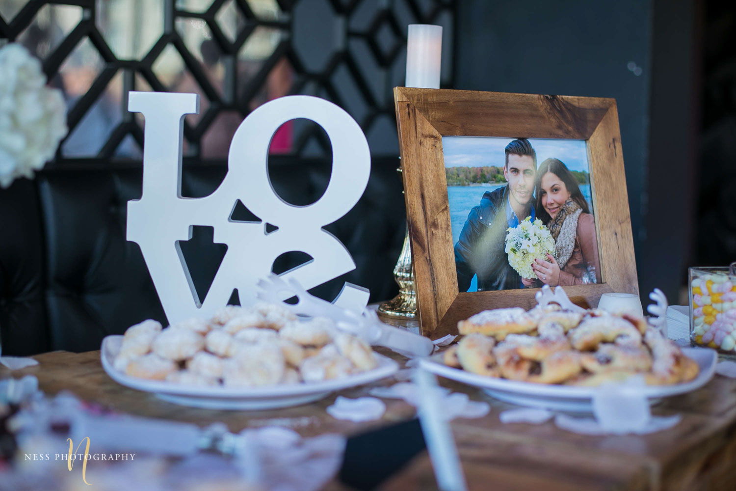dessert with love sign behind at engagement Party in Montreal
