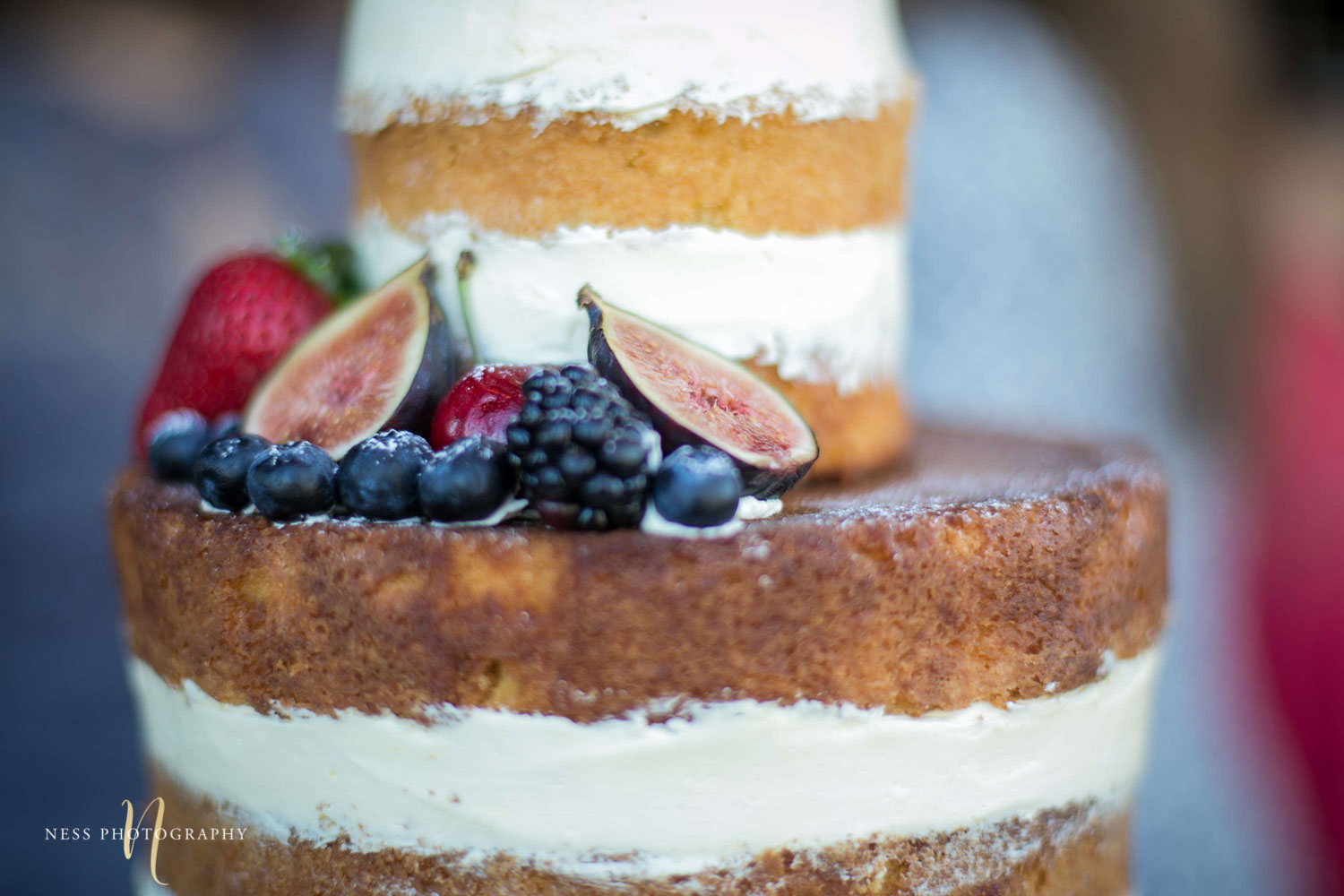 figs and berries on naked cake at engagement Party in Montreal