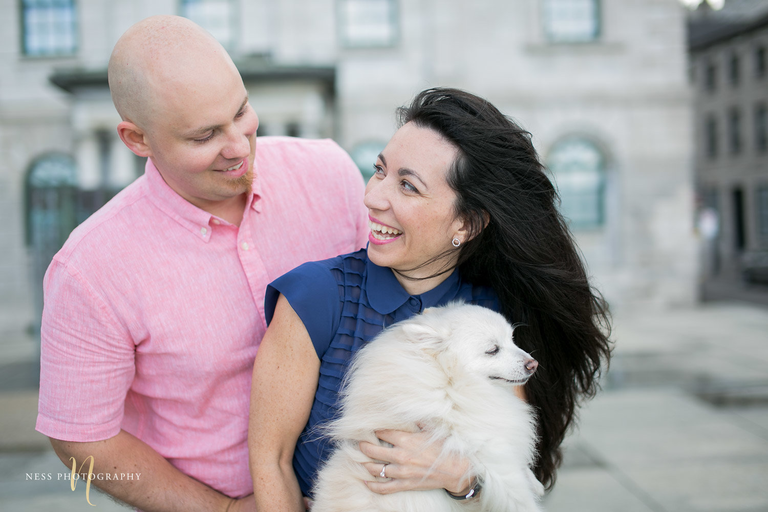 Adelina & Dan Engagement Photos Old Port Montreal with white dog By Ness Photography Wedding and Engagement Photographer 118.jpg