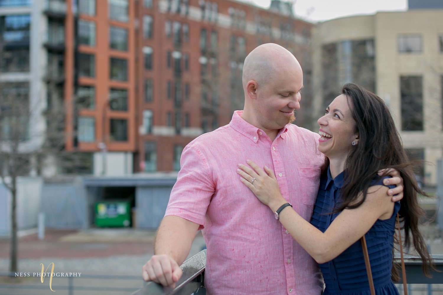 Adelina & Dan Engagement Photos Old Port Montreal with white dog By Ness Photography Wedding and Engagement Photographer 11.jpg