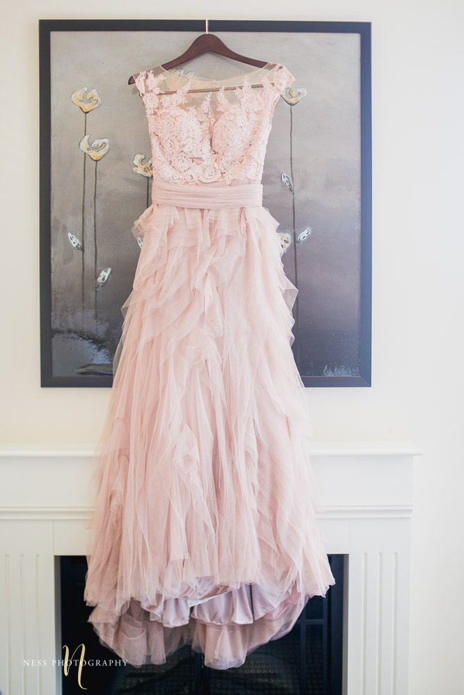 blush wedding dress at montreal elopement
