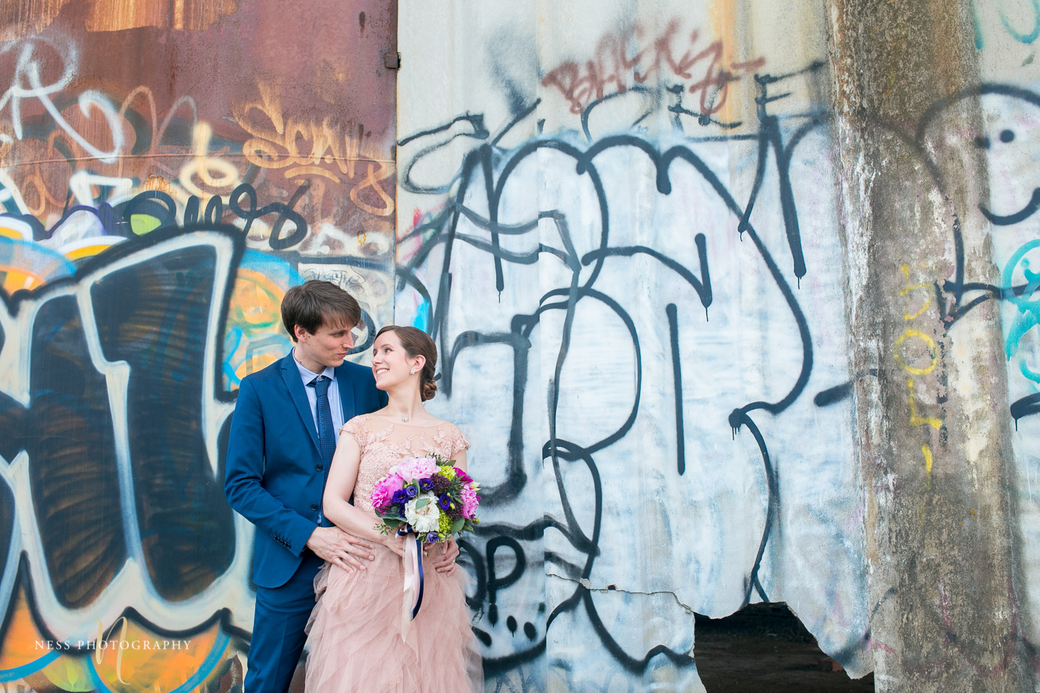 Canal lachine graffiti  bridal elopement photos in montreal
