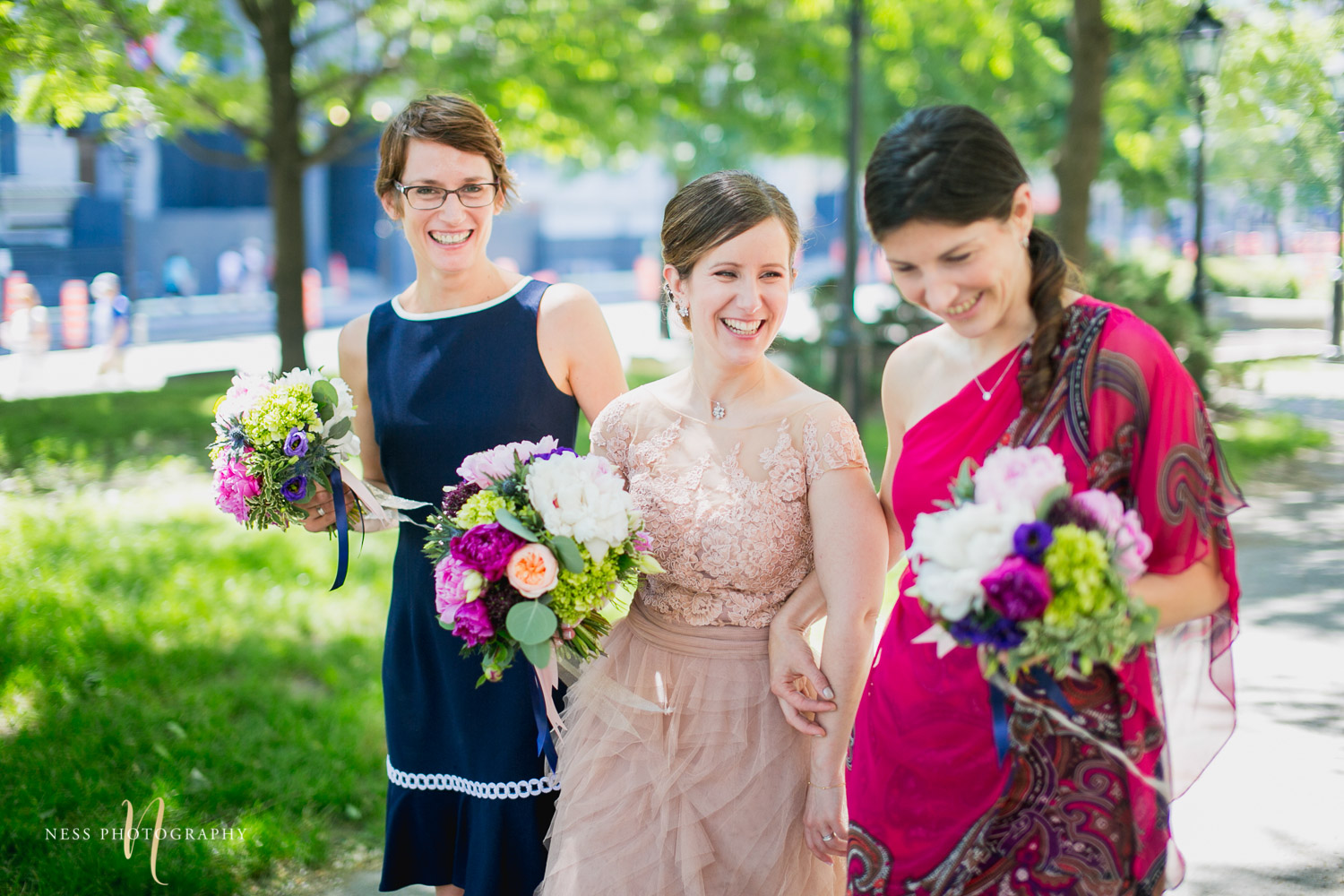 bridesmaids during montreal elopement in old port
