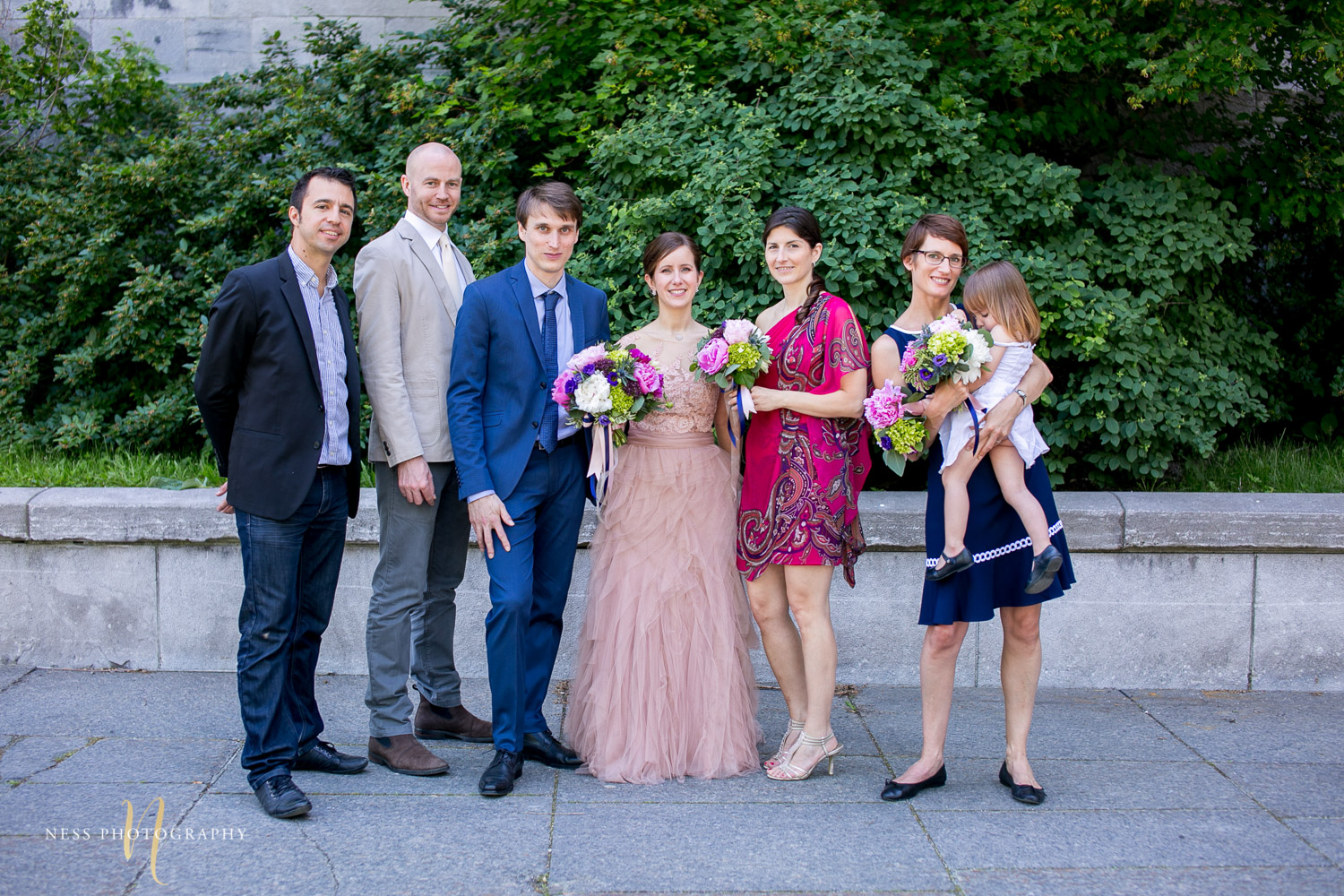 bridal party group photo during montreal elopement in old port