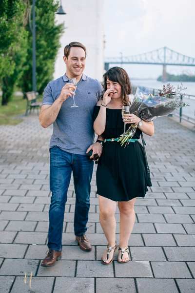 emotional surprise proposal at old montreal clock tower