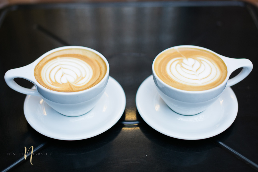two cups of cafe late at Foundation coffee co engagement photoshoot- Tampa Florida  wedding photographer