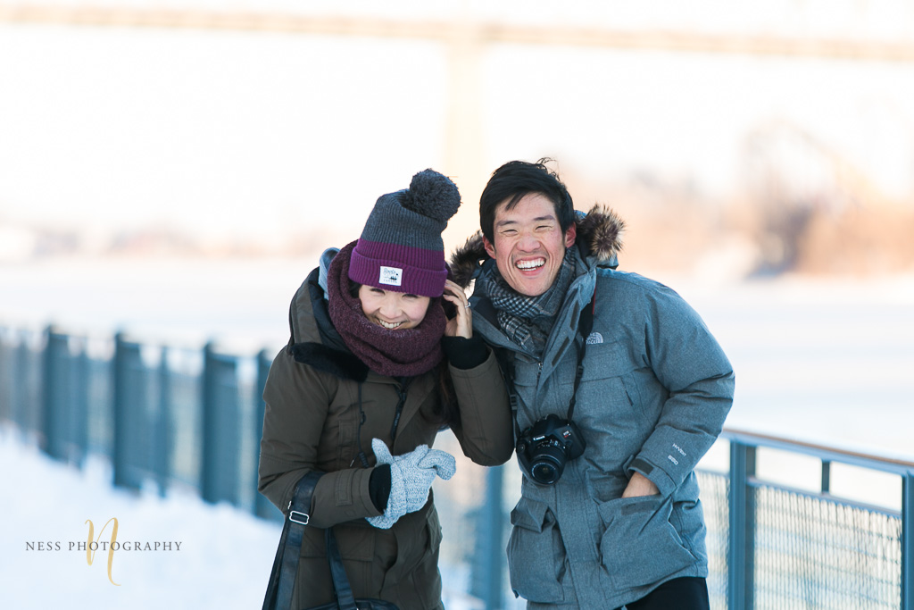 surprise proposal in montreal old port inthe winter